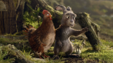 The easter bunny and a chicken walkthrough the forest