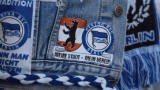Hertha BSC patches on a denim jacket
